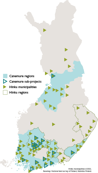 Map of Canemure regions, Canemure sub-projects, Hinku municipalities and Hinku regions.
